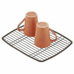 mDesign Modern Metal Kitchen Sink Dish Drying Rack / Mat