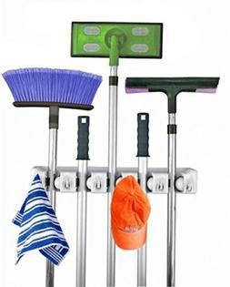 Mop and Broom Holder, 5 position with 6 hooks garage storage