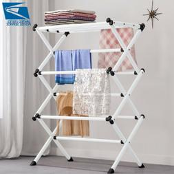 Movable Retractable Laundry Drying Rack Clothes Hanger Airer