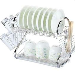 Multi-function 2-Tier Stainless Steel Dish Drying Rack Kitch