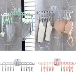Multi-functional 10 Clips Folding Drying Rack Laundry Hanger