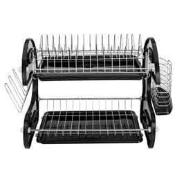 New 2 Tier Black Dish Drainer Drying Rack Home Basics  Washi