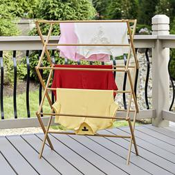 NEW - Clothes Drying Rack Bamboo Wooden Heavy Duty Cloth Dor