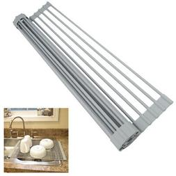 Evelots NEW Dish Drying Rack-Roll Up-Over the Sink-OVERSIZE-