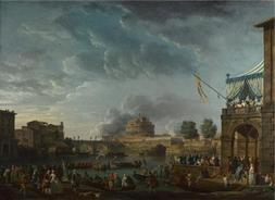 Oil Painting 'Claude-Joseph Vernet - A Sporting Contest On T