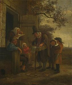 Oil Painting 'Jan Steen A Pedlar Selling Spectacles Outside