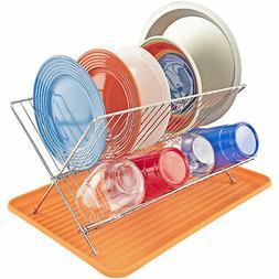 orange dish drying rack with folding holder