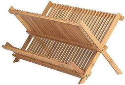 Neet Bamboo Dish Drying Rack | 2 Tier Folding Collapsible |