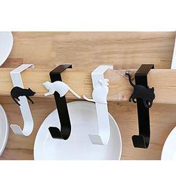 SRHOME 4 Pack Over The Door Cat Hook Hanger,Storage Hanging
