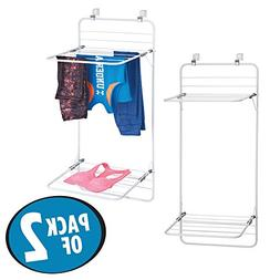 mDesign Over Door Space Saver Clothes Drying Rack with Hooks
