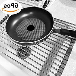 Over The Sink Dish Drying Rack Roll Up Foldabal Stainless St