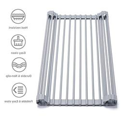 Glotoch Roll Up Sink Drying Rack- Stainless Steel Cover with