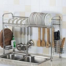 "36"" Over The Sink Dish Drying Rack Stainless Steel Kitchen C"