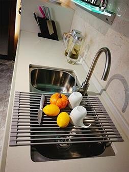 Leasen Over Sink Silicone Roll-up Dish Drying Rack Dish Drai
