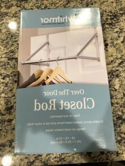 Whitmor Over The Door Closet Rod Metal Silver Epoxy Clothe O