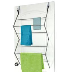 Over the Door Towel Mount Garment Drying Rack,Metal,Silver,F