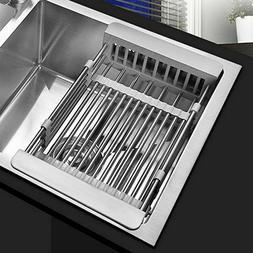 Over the Sink Dish Drying Rack Adjustable Stainless Steel Si