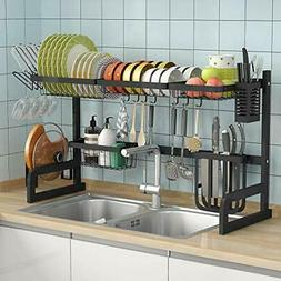 Over The Sink Dish Drying Rack Adjustable 2-Tier Large Dish