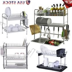 Over The Sink Dish Drying Rack Shelf Stainless Kitchen W/Cut