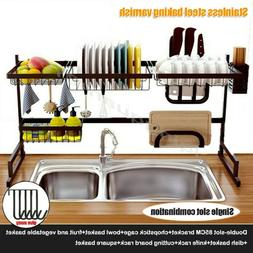 Over The Sink Dish Drying Rack Drainer Shelf Black Utensil H
