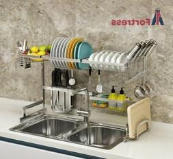 Over The Sink Dish Drying Rack-Stainless Steel-2 Tier Draine