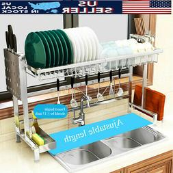 Over The Sink Dish Drying Rack Stainless Steel Home Kitchen