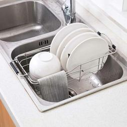 Over the Sink Dish Drying Rack Stainless Steel Expandable Ki