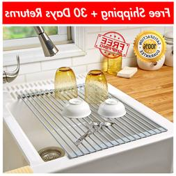 Over the Sink Drying Rack Stainless Steel Roll-Up Dish Bottl