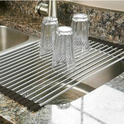 Over the Sink Multipurpose Roll-Up Dish Drying Rack Pan Bott