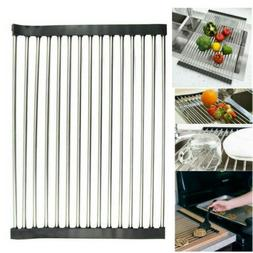 Over the Sink Roll-Up Dish Drying Rack Pan Bottle Food Colan