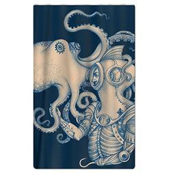 FSKDOM Oversized Beach Towel - Octopus Blue Kraken Nautical