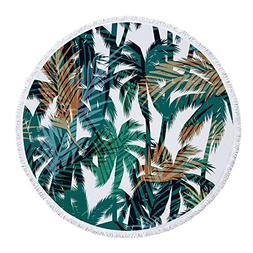 PYHQ Palm Round Beach Towel Cover Tassel Wrap Summer Accesso
