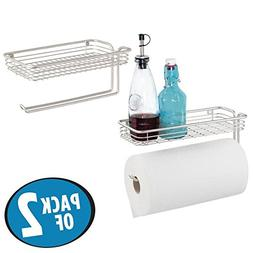 mDesign Paper Towel Holder with Spice Rack and Multi-Purpose