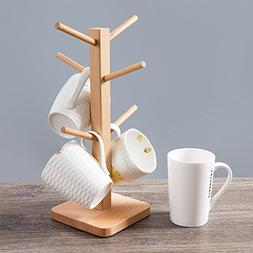 xdobo Party Bar Wooden Cup/Mug Rack, Natural Wood Tree Shape