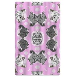 FSKDOM Pink Chinchillas And Moon Dots Quick Dry Antibacteria