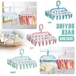 Folding Clothes Hanger Rotary Drying Rack Bra Clip Underwear