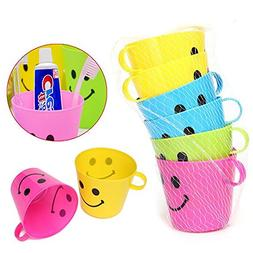 6Pcs Plastic Colorful Smiling FaceTooth Cups With Handle Mou
