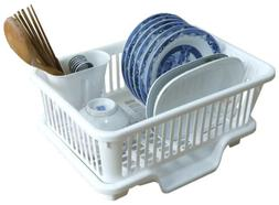 Basicwise Plastic Dish Rack with Drain Board and Utensil Cup