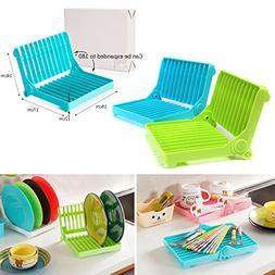 Kitchen Plastic Foldable Dish Plate Drying Rack Organizer Dr