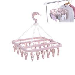 Plastic Folding Clothes Hanger Towels Socks Bras Underwear D