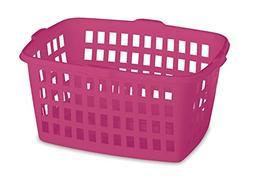 "Homz Plastic Laundry Basket, 23"" x 11"" x 17.8"", Bright Rose,"