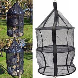 INLAR Pocket Drying Rack Foldable Hanging Basket Folding Sto