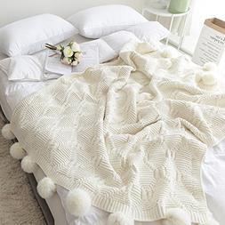 Pom Pom Plush Throw Blanket, Luxurious Lovely Lounge Cover K