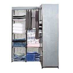 Dporticus Portable Corner Clothes Closet Wardrobe Storage Or