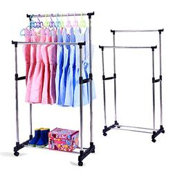 KARMAS PRODUCT Portable Double Rods Rolling Clothes Rack Adj