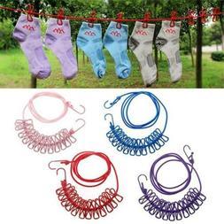 Portable Drying Rack Clips Cloth Hangers Iron Line Pegs Trav