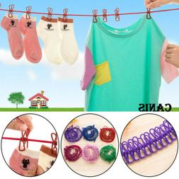 Portable Travel Stretchy Clothesline 12Clips Windproof Socks