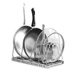 Creatwo Adjustable Pot Lid Organizer Pan Drying Rack Cookwar