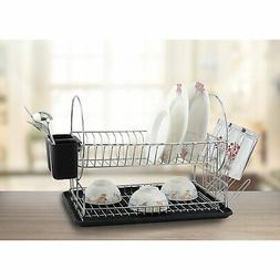 Diamond Home Red Dish 2-Tier Drying Rack and Draining Board,