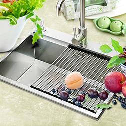 Roll-Up Drying Dish Rack, Foldable 304 Stainless Steel Over